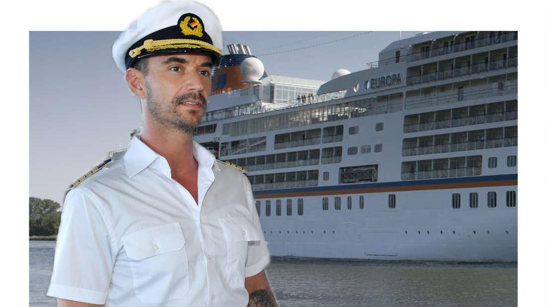 Florian Silbereisen schaut zu einem Kreuzfahrtschiff. (Fotomontage)