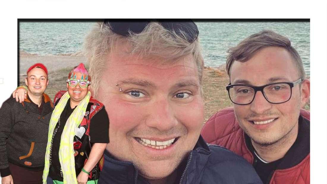 Fotomontage: Sven und Sebi Florijan am Meer, davor bei einm Event von Olivia Jones