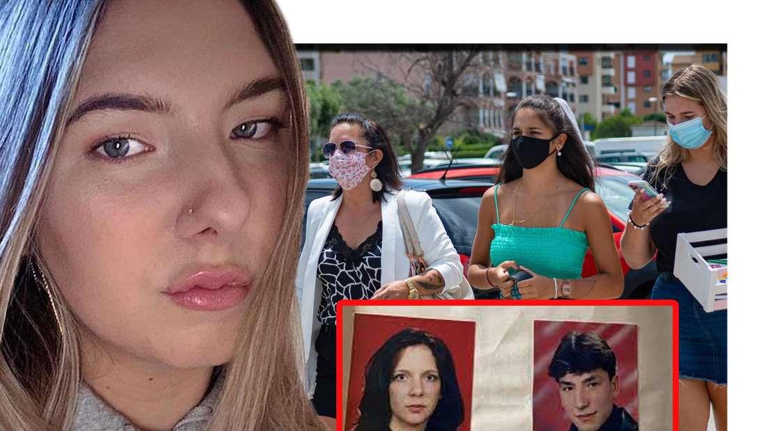 Joelina schaut seitlich in die Kamera - dahinter ist sie gemeinsam mit ihrer Mutter und ihrer Schwester zu sehen (Fotomontage)