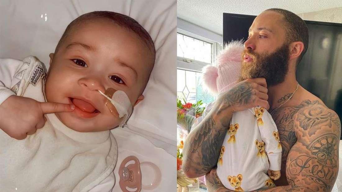 Fotomontage: Links Azaylia, das Baby von Ashley Cain, Rechts hält er sein Baby im Arm