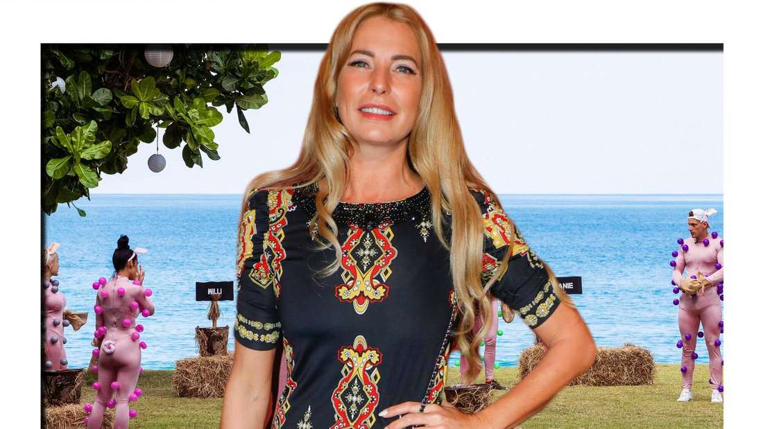 Fotomontage: Giulia Siegel am Set von Promis unter Palmen