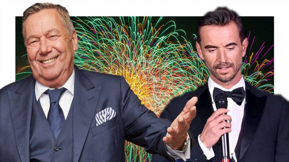 Roland Kaiser und Florian Silbereisen vor einem Hintergrund aus Feuerwerk (Fotomontage)