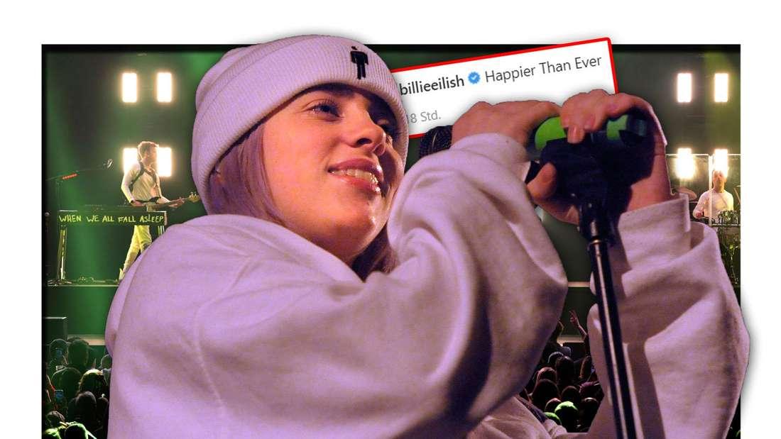 """Die Popsängerin Billie Eilish steht neben der Instagram-Ankündigung ihres Songs """"Happer Than Ever"""", dahinter ein Konzert (Fotomontage)"""
