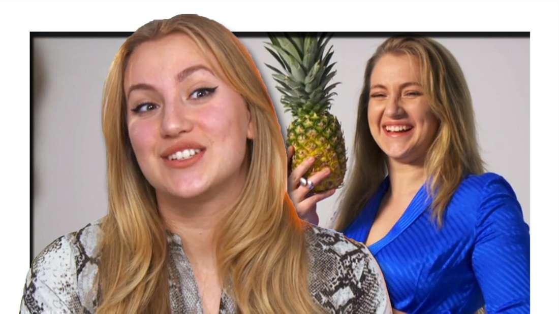 Fotomontage: Dascha vor, im Hintergrund posiert sie mit einer Ananas