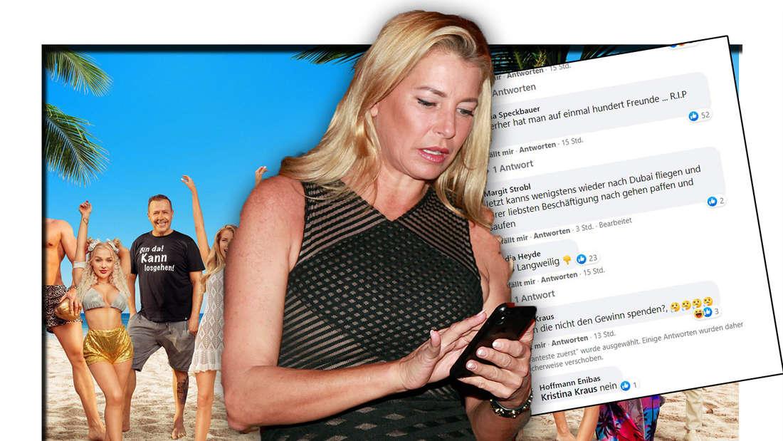 """Giulia Siegel mit dem Handy in der Hand , Screenshot Facebook Kommenatere und alle Teilnehmer von """"Promis unter Palmen"""" 2021 (Fotomontage)"""