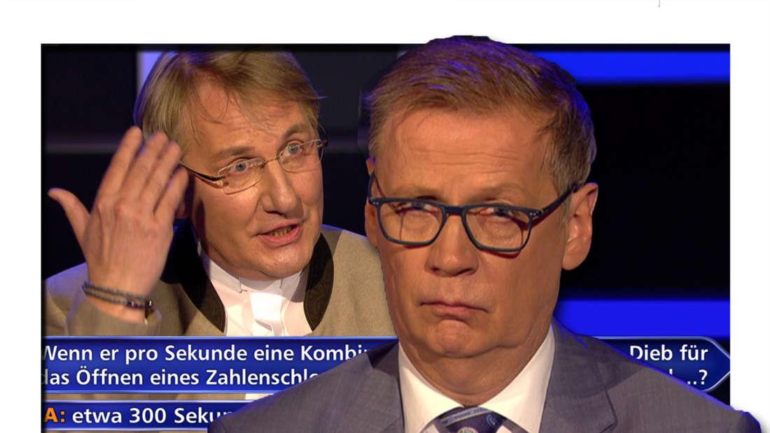 Fotomontage: Günther Jauch sieht verwirrt aus, im Hintergrund der Kandidat