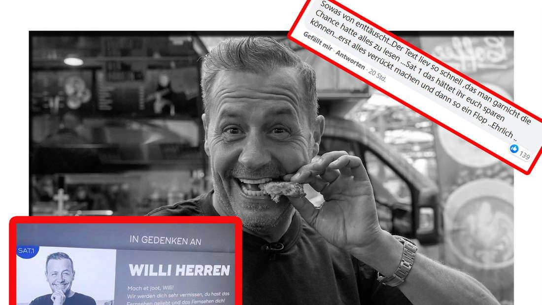 Willi Herren (†45) steht vor seinem Foodtruck - im Vordergrund ist seine Gedenktafel zu sehen (Fotomontage)