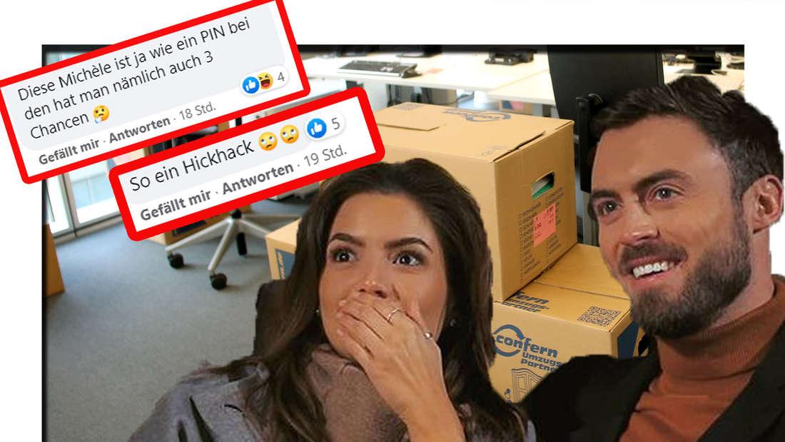 Michele und Niko umarmen sich, dahinter sind Umzugskartons zu sehen (Fotomontage)