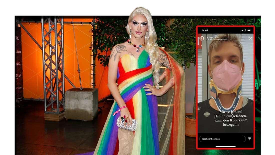Katy Bähm trägt ein Regenbogen-Kleid und schaut in die Kamera - daneben ist ein Screenshot aus ihrer Instagram-Story zu sehen (Fotomontage)