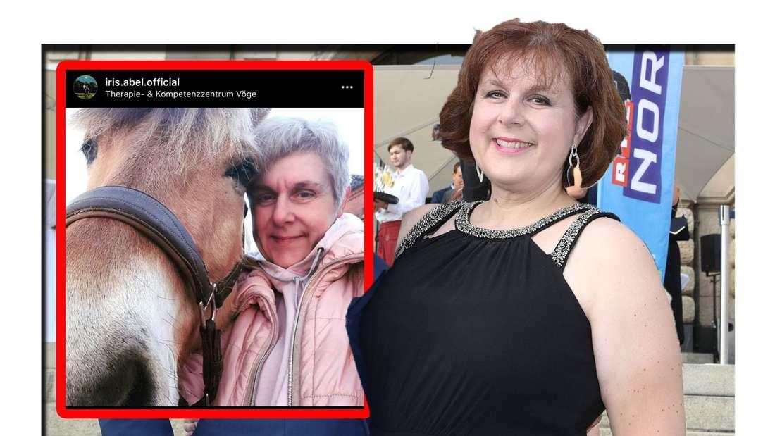 Iris Abel lächelt in die Kamera - daneben ist ihr Instagram-Post zu sehen (Fotomontage)