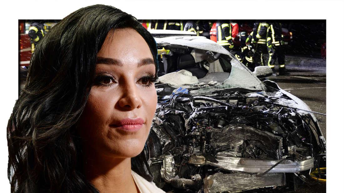 Verona Pooth schaut in die Kamera - im Hintergrund sieht man ein kaputtes Auto (Fotomontage)