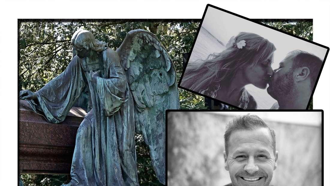 Fotomontage: Der Friedhof Köln Melaten, davor ein Foto von Willi Herren und eins von Willi und Jasmin