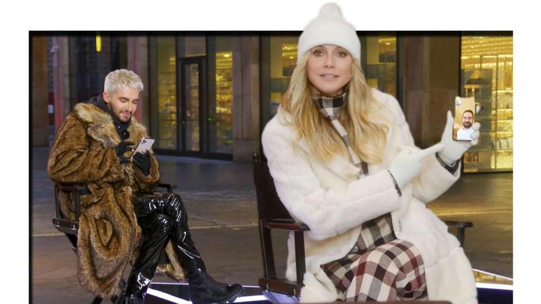 Fotomontage: Bill Kaulitz Heidi Klum und Tom Kaulitz auf Handybildschirm am GNTM-Set