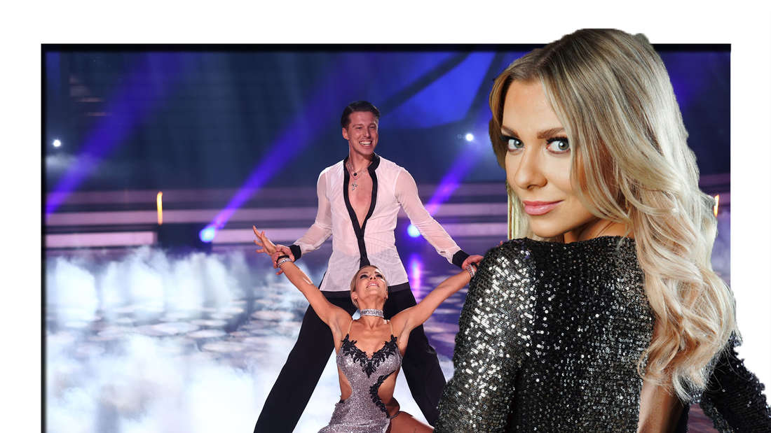 Valentina Pahde schaut in die Kamera - im Hintergrund ist sie gemeinsam mit ihrem Tanzpartner zu sehen.
