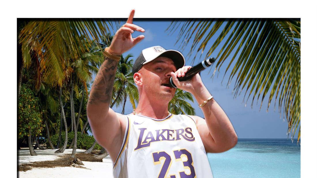Fotomontage: Pietro Lombardi singt ins Mikro vor Palmenstrand