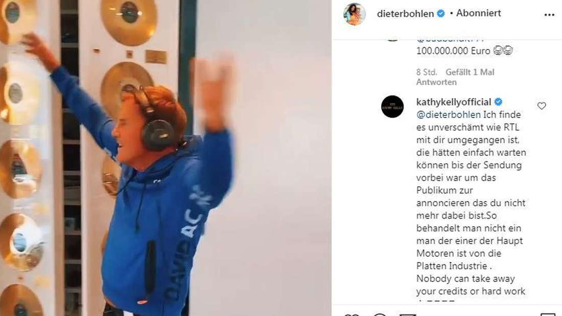 Dieter Bohlen postet ein Lip-Sync-Video mit dem Sound von Phil Collins. Kathy Kelly kommentiert wutentbrannt.