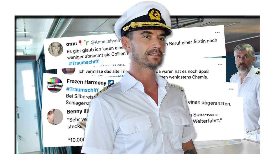 Der neue Kapitän Max Parger (Florian Silbereisen, l) muss die eingespielte Crew. Screenshots von Twitter-Userin zur neuen Traumschiff-Folge zu Ostern. (Fotomontage)