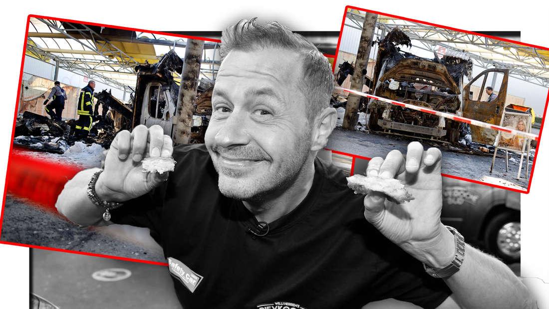 Willi Herren mit Reibekuchen, die Überreste von seinem Foodtruck (Fotomontage)