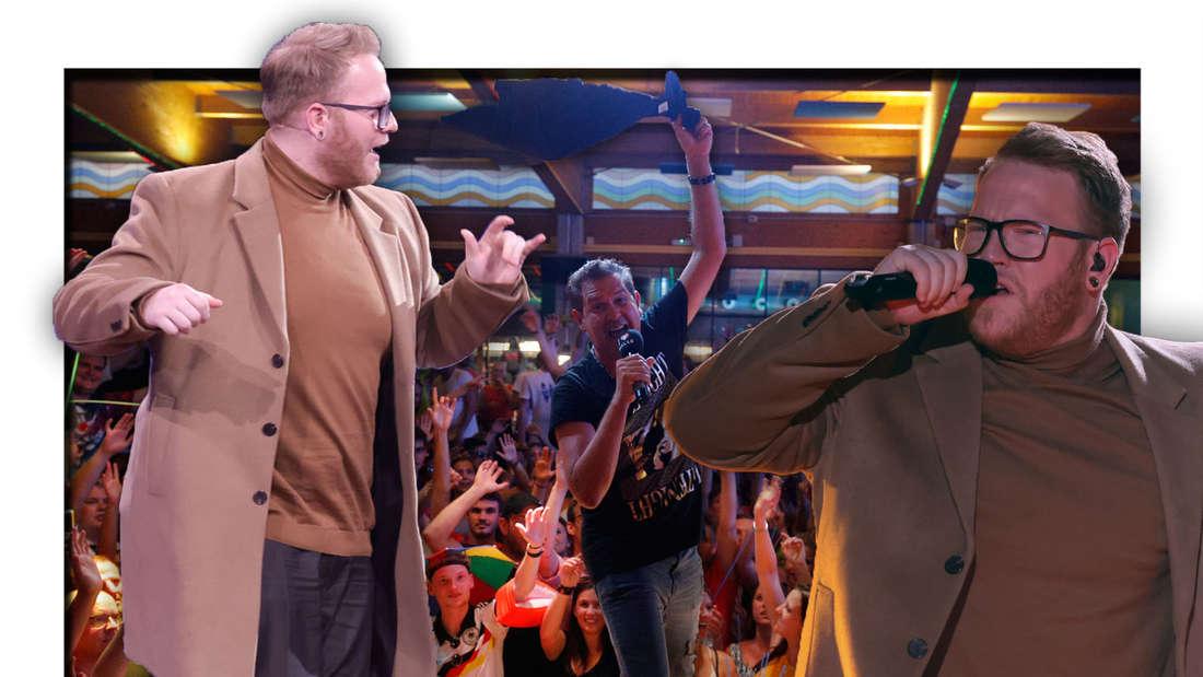 Jan Marten singt, Peter Wackel im Hintergrund, Menschen strecken die Arme nach Marten (Fotomontage)