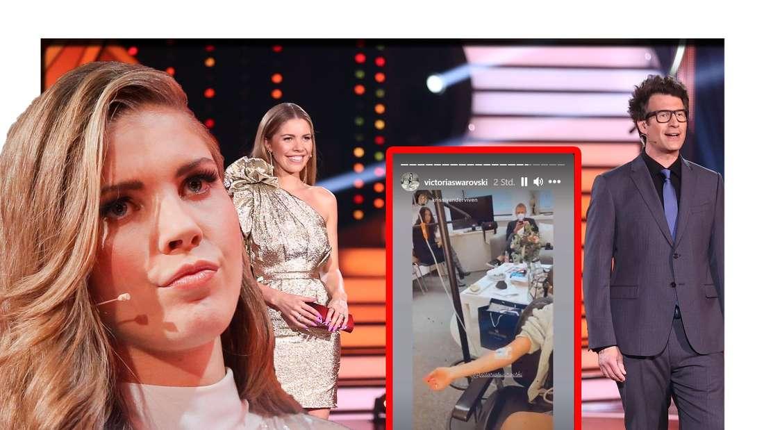 Victoria Swarovski schaut in die Kamera - dahinter ist sie gemeinsam mit Daniel Hartwich zu sehen (Fotomontage)