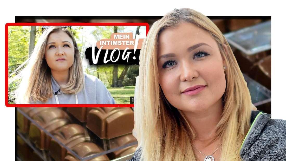 Sophia Thiel schaut in die Kamera - hinter ihr sind Schokoladen-Stücke zu sehen (Fotomontage)