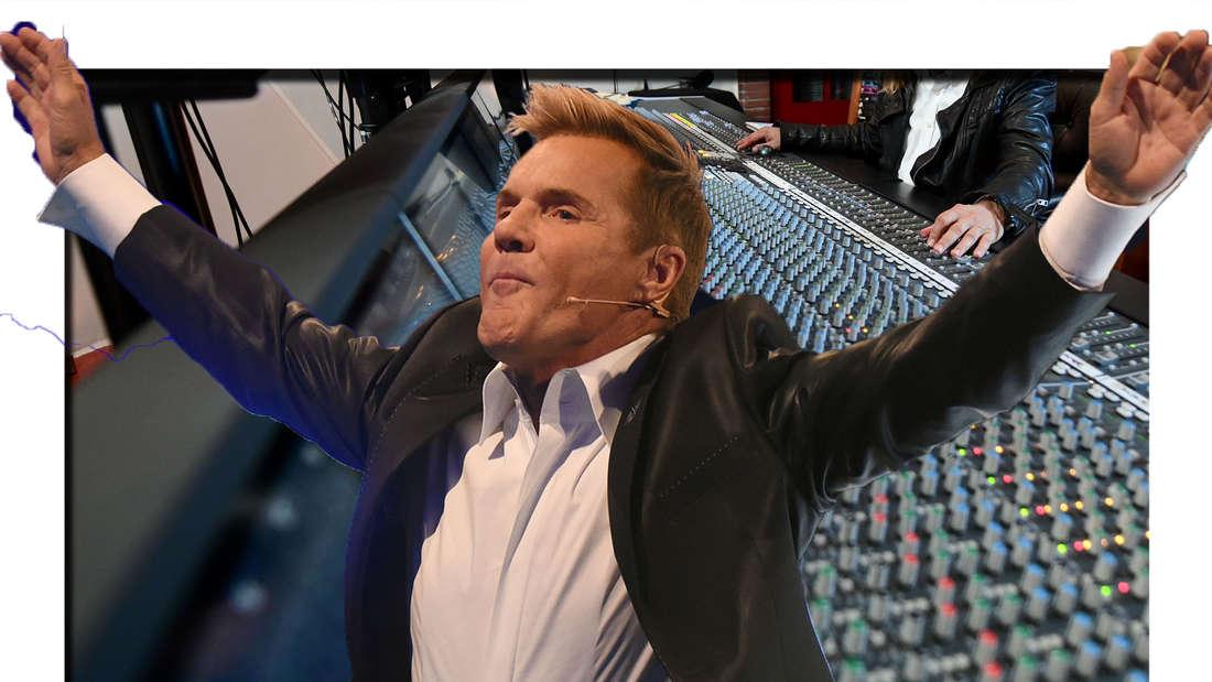 Dieter Bohlen streckt die Hände zur Seite - dahinter ist ein Aufnahmestudio zu sehen (Fotomontage)