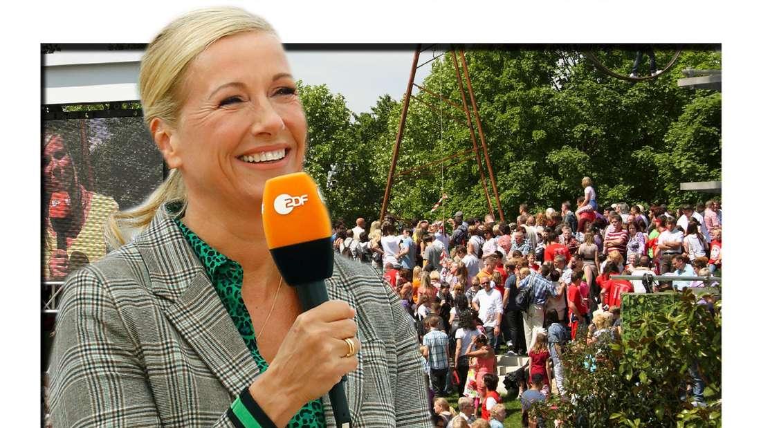 Fotomontage: Andrea Kiewel steht vor ZDF Fernsehgarten