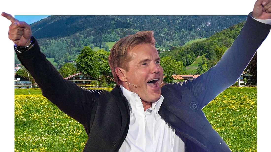 Dieter Bohlen vor einer idyllischen, bayerischen Landschaft (Fotomontage)