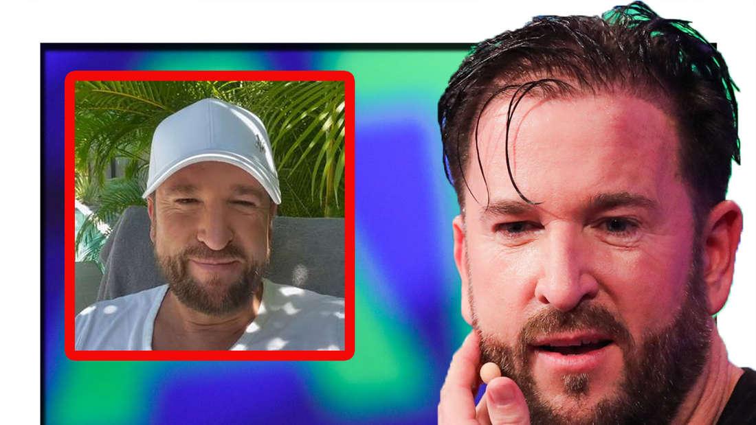Michael Wendler schaut erstaunt in die Kamera - daneben ist ein Screenshot aus seinen Telegram-Video zu sehen (Fotomontage)