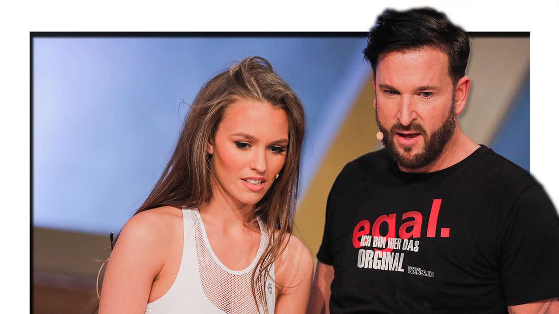 """Michael Wendler und seine Frau Laura Müller stehen in der Live-Show """"Pocher vs. Wendler - Schluss mit lustig!"""" nebeneinander. (Fotomontage)"""
