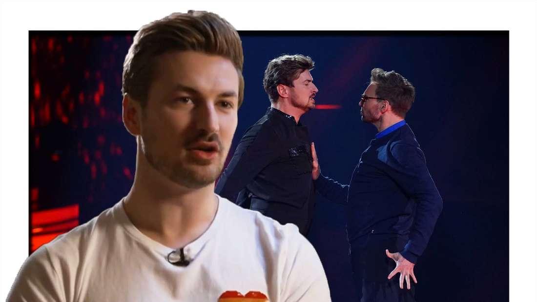 """Fotomontage: Nicolas Puschmann, dahinter er und Vadim Garbuzov bei """"Let´s Dance"""""""