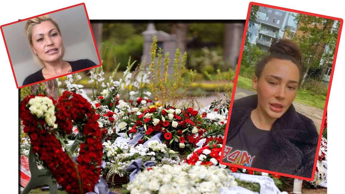 Fotomontage: das Grab von Willi Herren, davor Jasmin Herren und Alessia Herren