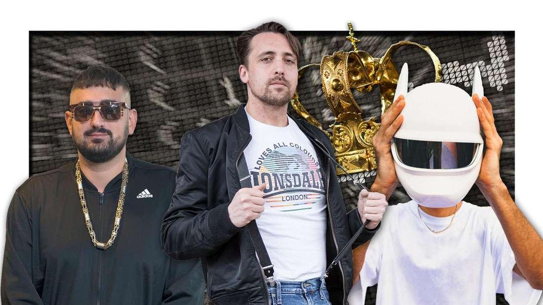 Die Rapper Haftbefehl, Danger Dan und Cro (v.r.) stehen vor Aktienkursen, darüber eine goldene Krone (Fotomontage)