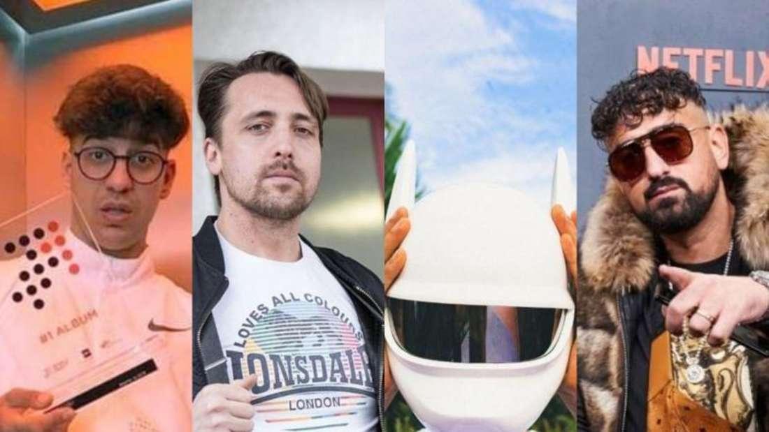Die Rapper Ufo361, Danger Dan, Cro und Haftbefehl (Fotocollage)