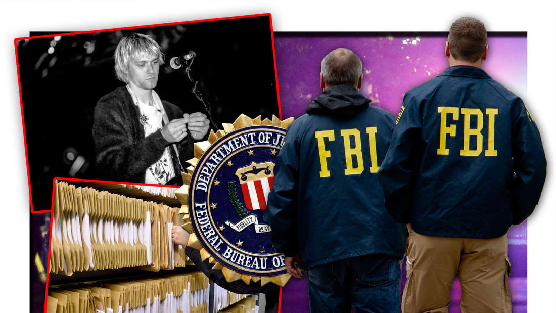 Zwei FBI-Ermittler stehen vor einem Tatort, daneben Nirvana-Frontmann Kurt Cobain, das Logo der Behörde und Akten (Fotomontage)