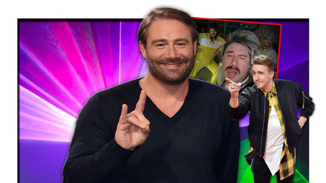 """""""The Masked Singer""""-Gewinner Sasha steht neben """"Bachelorette""""-Gewinner David Friedrich, daneben ein Selfie mit Eskimo Callboy (Fotomontage)"""