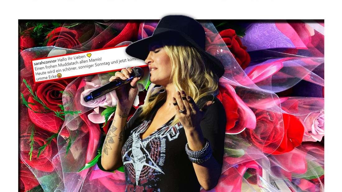 Popstar Sarah Connor steht vor einem bunten Blumenstrauß, daneben ein Instagram-Screenshot eines ihrer Posts (Fotomontage)
