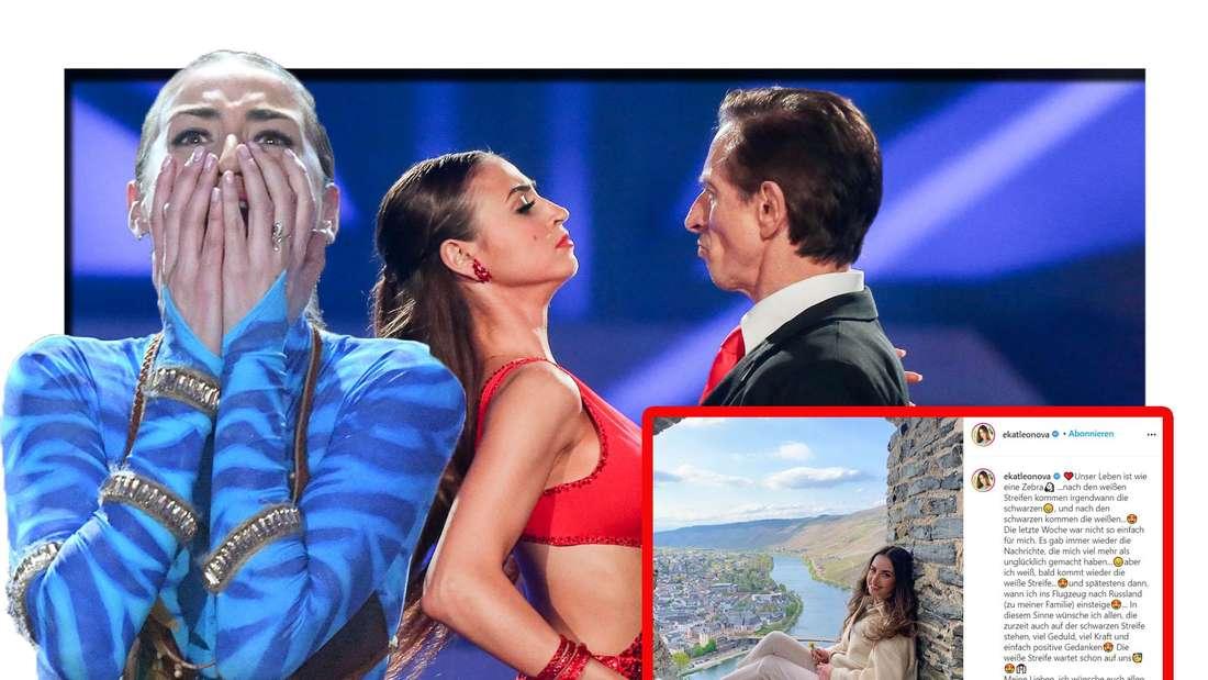 """Ekaterina schaut schockiert in die Kamera - im Hintergrund ist sie auf der """"Let's Dance""""-Bühne zu sehen"""