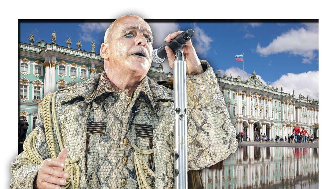 Rammstein-Frontmann Till Lindemann steht vor dem Sankt Petersburger Winterpalast, zu dem auch das Kunstmuseum Eremitage zählt (Fotomontage)
