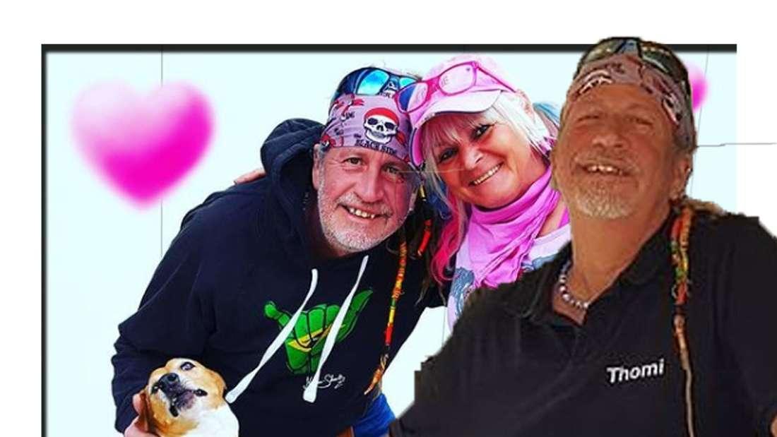 Thommy lächelt in die Kamera - dahinter ist er mit seiner Frau Kathrin zu sehen (Fotomontage)