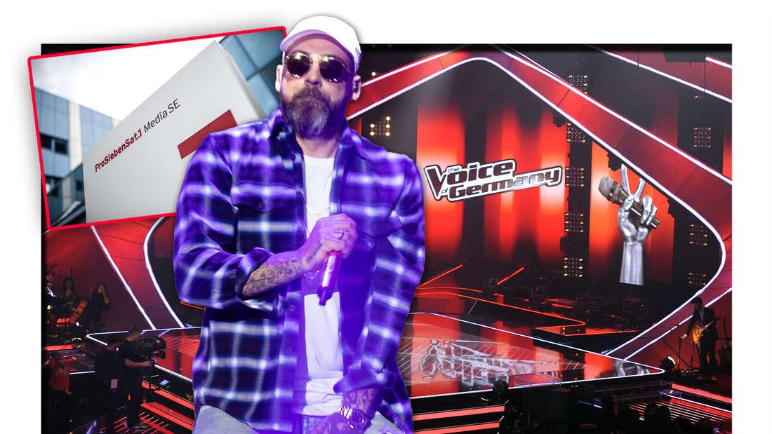 """Der Rapper Sido steht vor der Bühne von """"The Voice of Germany"""", daneben Logo und Schriftzug der ProSiebenSat.1 Media SE (Fotomontage)"""