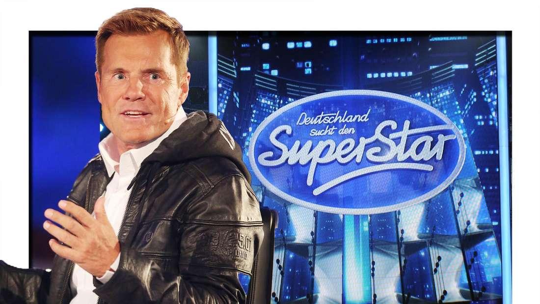 Dieter Bohlen blickt zur Seite, im Hintergrund das DSDS-Logo (Fotomontage)