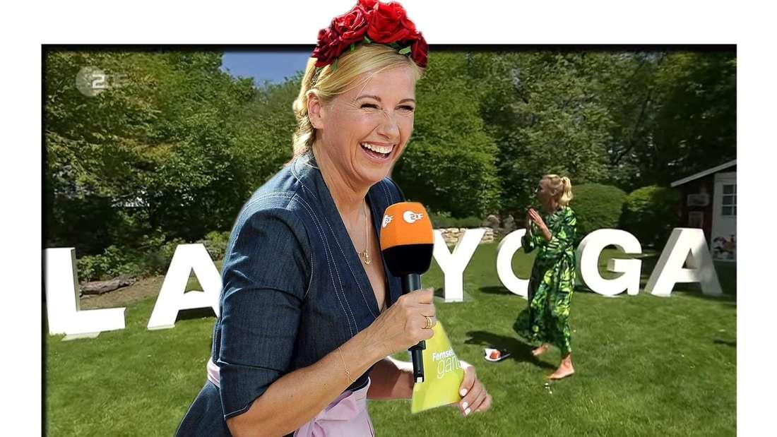 Fotomontage: Andrea Kiewel lacht im Garten während Lachyoga Kurs