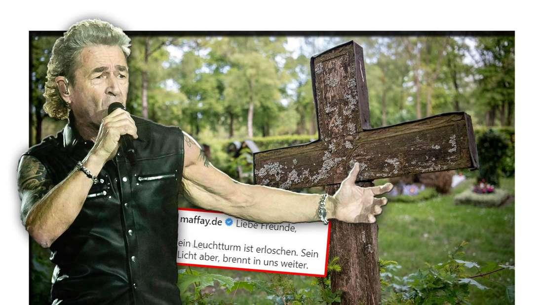 Der Rock- und Popmusiker Peter Maffay steht vor einem hölzernen Kreuz, daneben der Instagram-Post zu seinem verstorbenen Vater (Fotomontage)