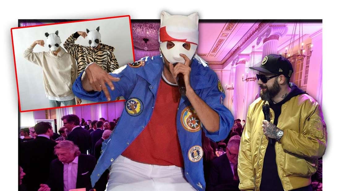 Cro steht vor den Teilnehmern der Echo-Party, daneben ein Bild mit einem Doppelgänger des Rappers und Sido (Fotomontage)