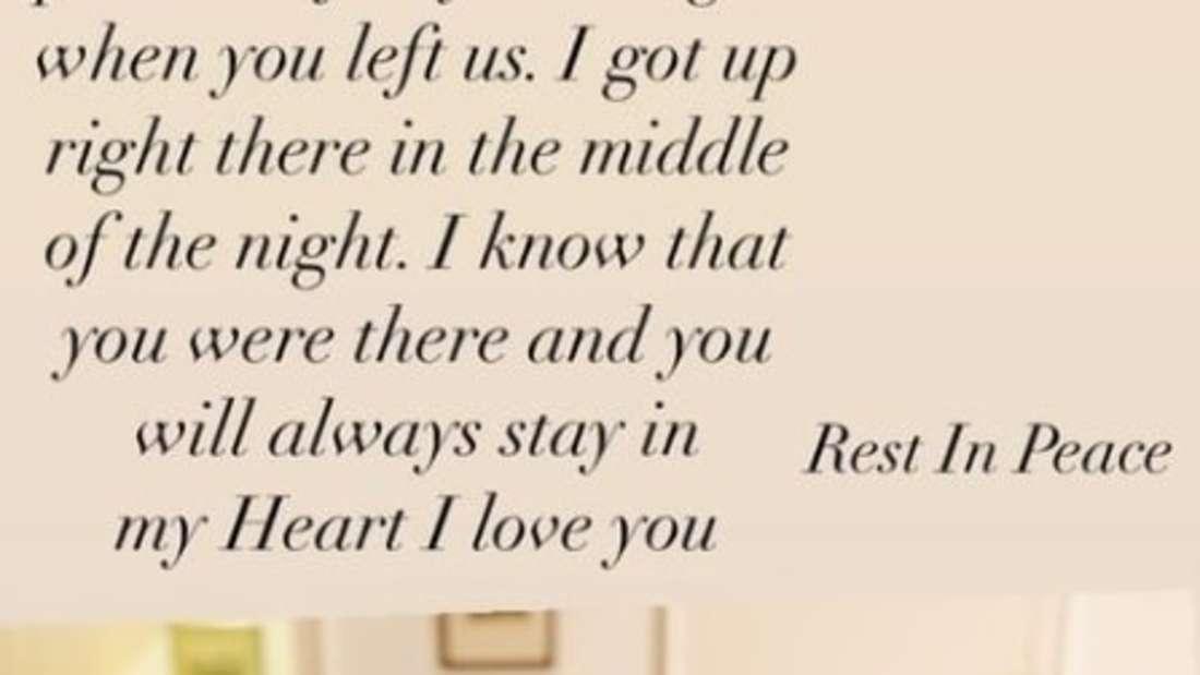 Screenshot aus Lara Sandes Instagram-Story, in der sie sich von ihrer Mutter verabschiedet.