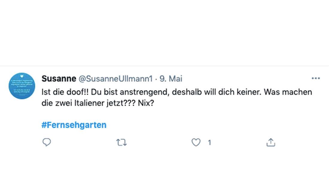 Eine Twitter-Userin kommentiert den ZDF-Fernsehgarten am Sonntag (9. Mai) mit Andrea Kiewel