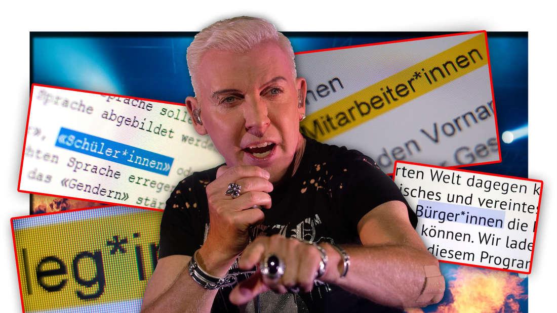 H.P. Baxxter, Frontmann der Hamburger Band Scooter, steht zwischen korrekt gegenderten Begriffen (Fotomontage)