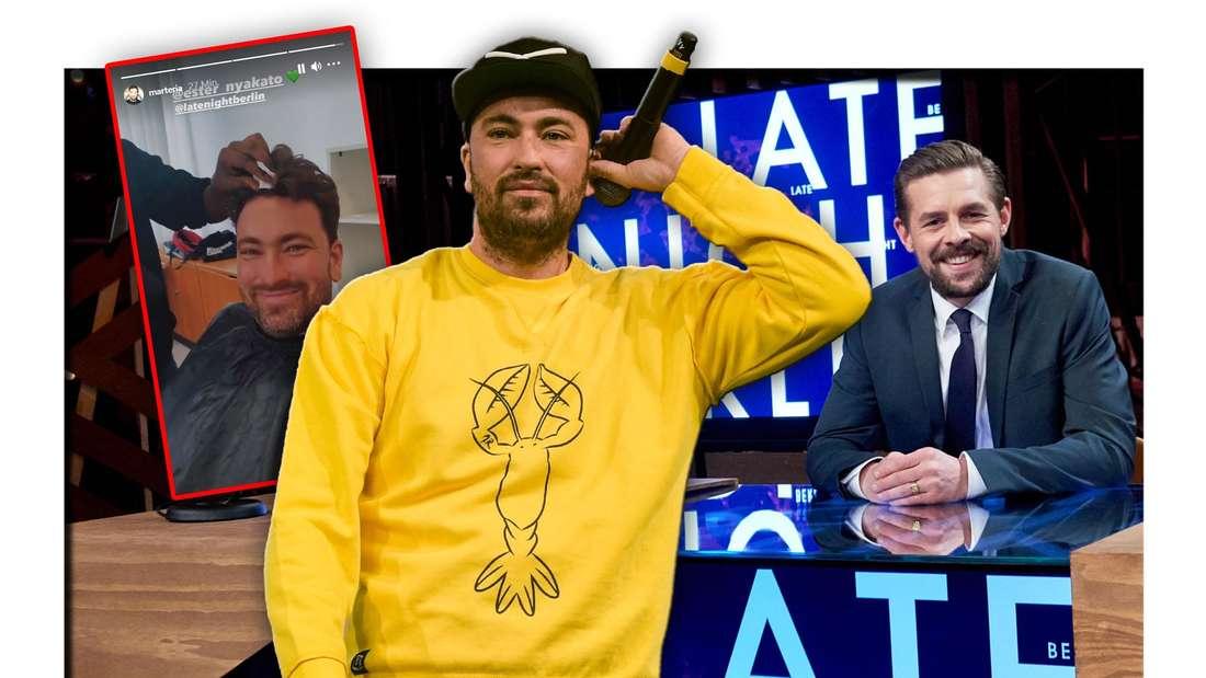 """Der Rapper Marteria steht vor dem Studio von Klaas Heufer-Umlaufs Sendung """"Late Night Berlin"""", daneben seine Instagram-Story (Fotomontage)"""