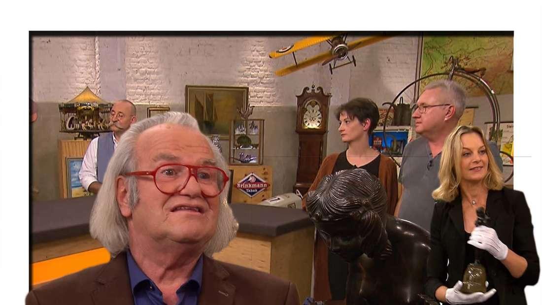 """Fotomontage: Händlerin Susanne Steiger mit Bronzefigur bei """"Bares für Rares"""", dazu Albert Meier und Horst Lichter, sowie die Verkäufer"""
